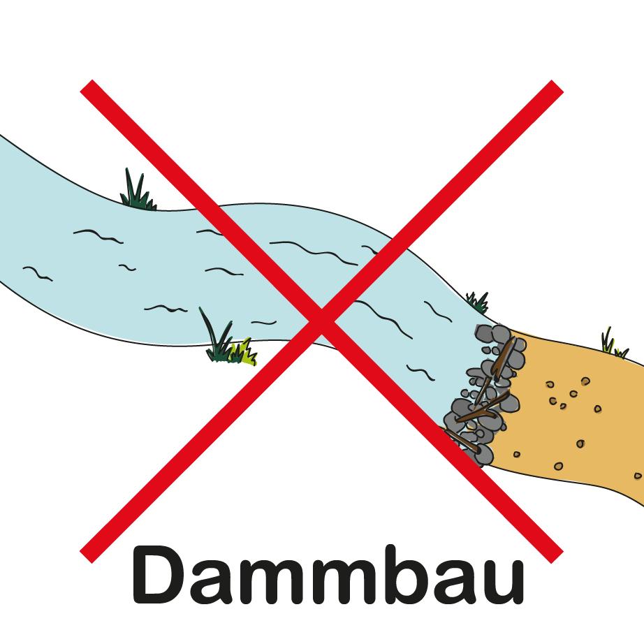 Piktogramm Dammbau verboten