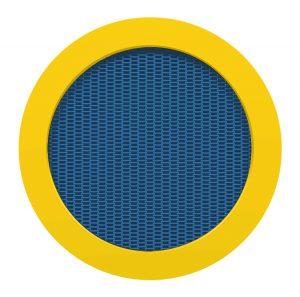 Randplatten gelb, Sprungmatte blau
